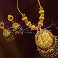 Kemp Red Green Double Step Crystal Hangings Jhumka Handmade Temple Jewellery Online
