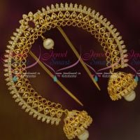 Ruby White Wedding Bridal Imitation Accessory Jhumka Hangings Double Side AD Rakodi