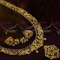 AD Stones Peacock Jewellery Medium Haram Jhumka Design Broad Grand Bridal Collections Online