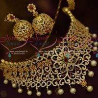 Bridal Multi Colour AD Stones Choker Necklace Latest Imitation Jewellery Gold Designs Online
