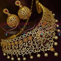 Bridal Multi Colour AD Stones Choker Necklace Latest Imitation Jewellery