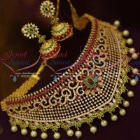 Bridal Jewellery AD Grand Choker Necklace Pearl Danglers Latest Design Collections Online