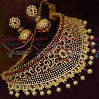 Bridal Jewellery Ruby White Grand Choker Necklace Pearl Danglers Latest Design Collections Online