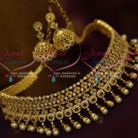 Multi Colour Stylish Trendy AD Jewellery Choker Pearl Gold Caps Jhumka Earrings Even Width Design