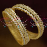 AD White Marquise Stones Leaf Design Broad Party Wear Bangles Shop Online