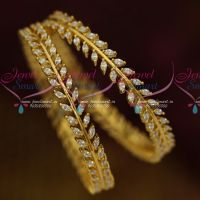 AD White Marquise Stones Leaf Design Party Wear Bangles Shop Online
