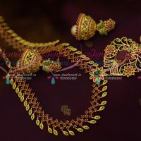 AD Jewellery Ruby Emerald Medium Haram Jhumka Earrings Gold Design Fashion Latest Online