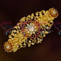 AD Fashion Jewellery Gold Plated Ruby White Hair Clip Women's Accessory Buy Online
