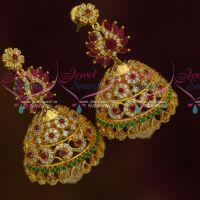 Big Heavy Floral Design AD Multi Colour Stones Jhumka Latest Fashion Jewellery Online