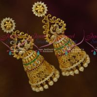 Big Double Layer Peacock AD Multi Stones Jhumka Latest Fashion Jewellery Online