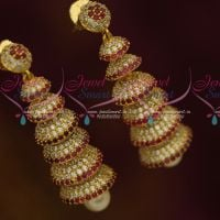 Multi Step Layer AD Jhumka Ruby White Latest Fashion Jewellery Collections Online