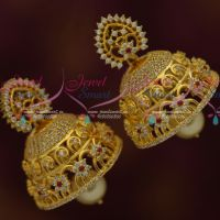 Broad Diamond Finish AD Jhumka Latest Fashion Semi Precious Stones Jewellery Online