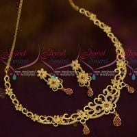 One Gram Gold Stylish Casting Premium Jewellery Set Real AD Stones Collections
