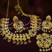 Light Gold Plated AD Temple Laxmi God Engraved Kasumala Handmade Jewellery Collections Online