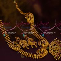 Peacock Beads Medium Haram Latest Fashion Jewellery Ruby Emerald Matte Gold Collections Online