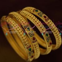One Gram Jewellery Forming 4 Pieces Set Meenakari Kemp Latest Design Bangles Shop Online