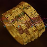 Meenakari Floral Flat Design One Gram Jewellery 6 Pcs Set Bangles Latest Fancy Collections Online