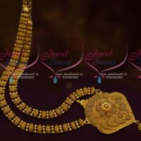 Gold Plated Simple Design Casual Wear Haram South Indian Covering Jewellery Low Price Collections Online