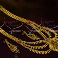 South Indian Haram Jewellery Online Multi Layer Gold Finish Meenakari Enamel Finish