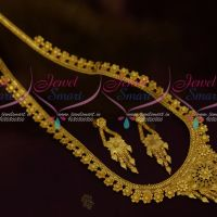 Floral Design Haram Chain Drops Traditional South Indian Jewellery Gold Plated Collections Online