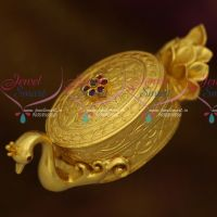 Peacock Design Traditional Sindoor Box One Gram Gold Plated Kumkum Barina Kunguma Chimizh