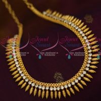 South Indian Leaf Design Kerala Style Jewellery White Stone AD Collections Shop Online