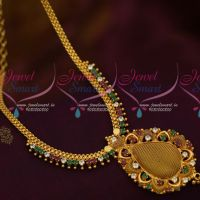 South Indian AD Ruby White Stone Jewellery Woven Design Pendant Low Price Collections Online
