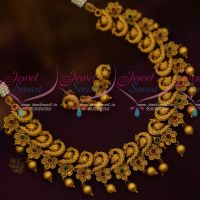 Peacock Floral Combo Design Beautiful Trendy Matte Gold Imitation Jewellery Set Collection Shop Online