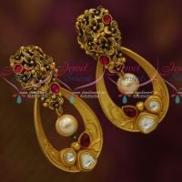 Stylish Gold Look Trendy Fusion Jewellery Oval Earrings Antique Kundan Collections Online