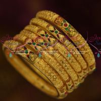 Forming 100 Mg 6 Pcs Set Bangles Round Cut Gold Design Exclusive Bridal Jewellery Collections Online