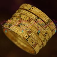 Enamel Colour Work Intricate Gold Work 6 Pcs Set Forming 100Mg One Gram Jewellery Online