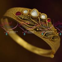 Latest Trendy Antique Finish One Gram Open Leaf Kada Kundan Jewellery Collections Online
