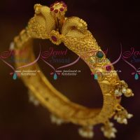 One Gram Peacock Nakshi Traditional Jewellery Screw Open Kada Bracelets Online