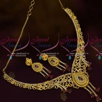 Latest One Gram Gold Stylish Casting Premium Jewellery Set Ruby Stones Collections