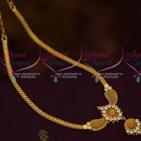 Simple Flat Chain Pendant AD White Stones Low Price Daily Wear Jewellery Shop Online