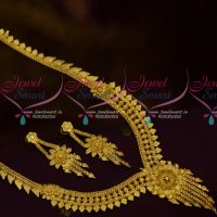 Fancy Gold Finish Jewellery Haram South Indian Traditional Ornaments Party Wear Collections