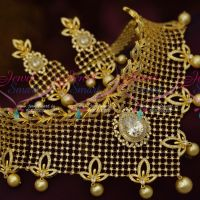 AD Bridal Jewellery Unique Choker Flexible Design White Dazzling Stones Imitation Collections Online