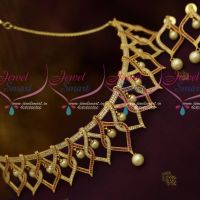 Stylish Trendy Broad Choker Necklace Ruby White Pearl Link Design AD Jewellery Online