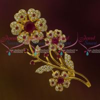 Floral Ruby WhiteAD Stones Fashion Matching Jewellery Saree Pins Accessory