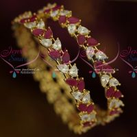 AD Ruby White Pear Stones Party Wear Imitation Jewellery Bangles Shop Online
