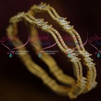 AD White Stones Double Line Neli South Indian Design Jewellery Bangles Shop Online