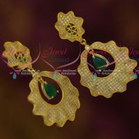 Green White AD Jewellery Wave Design Drops Fancy Ear Studs Womens Imtiation Collections Online