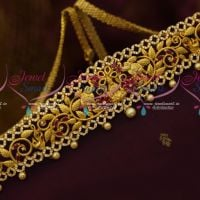 AD Ruby White Matte Gold Plated Latest Vaddanam Bridal Jewellery Designs Online