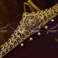 AD Peacock Multi Colour Stones Latest Vaddanam Fashion Jewellery Designs Online