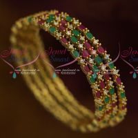 AD Stones Jewellery Multi Colour 4 Pcs Set Thin Marquise Round Combined Design Bangles Shop Online