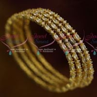 AD Stones Jewellery Full White 4 Pcs Set Thin Marquise Round Combined Design Bangles Shop Online