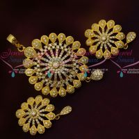 Dazzling White Simpe Round Design AD Stones Fashion Jewellery Low Cost Pendant Sets Shop Online