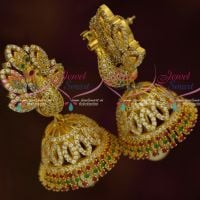 Stylish American Diamond Jewellery Dazzling Peacock Jhumka Ruby Emerald Imitation Online Shopping