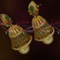 Green White Antique Jewellery Matte Gold Plated Stones Low Price Jhumka Earrings Shop Online