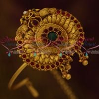 Adjustable Pipe Vanki Single Piece Traditional Jewellery Matte Antique Reddish Gold Plated Peacock